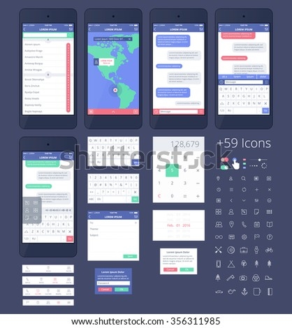 Vector Phone GUI Template for Ai. Wireframe UI Kit.