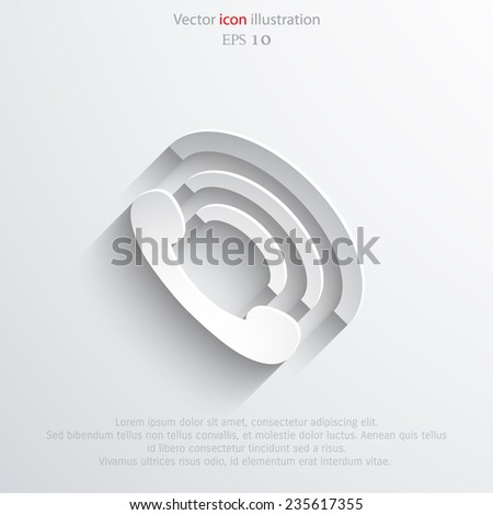 Vector phone handset flat icon. Eps 10 vector illustration. - stock vector