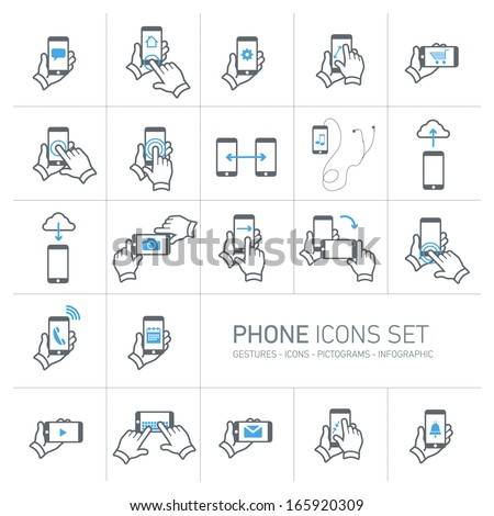 Vector phone icons set with gestures and pictograms | flat design infographic grey on white background - stock vector