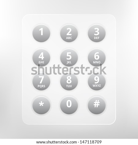 Vector phone numbers with alphabet keyboard - stock vector