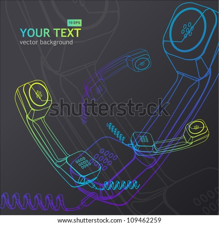 Vector phone receiver background - stock vector