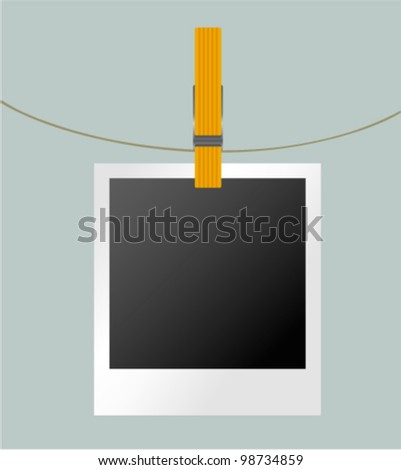 Vector photo album, snapshot, frame on rope with clothespin. Picture, photograph design element. - stock vector