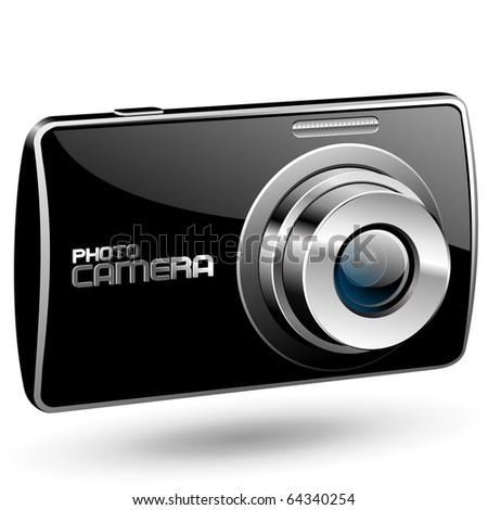 Vector Photo camera 2 (black) - stock vector