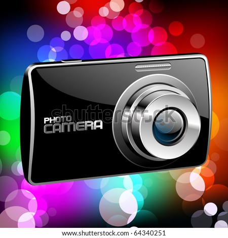 Vector Photo camera 4 (black with a color background) - stock vector