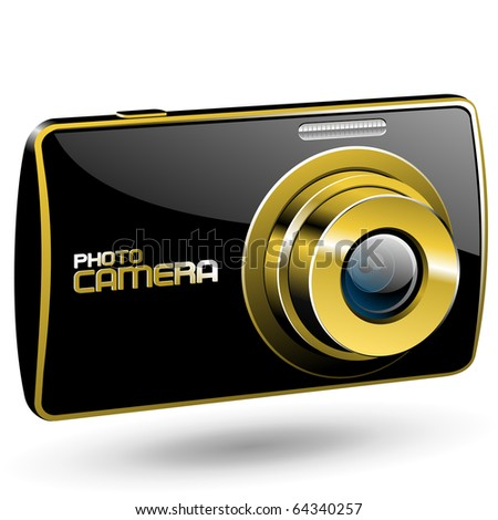 Vector Photo camera 3 (black with gold) - stock vector