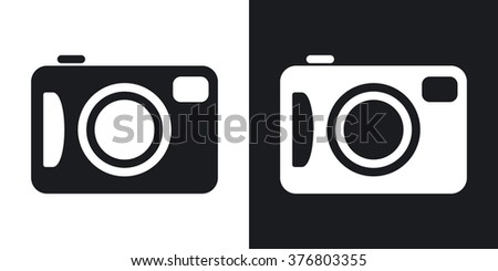 Vector photo camera icon. Two-tone version on black and white background - stock vector