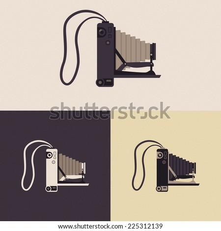 Vector photo camera in retro style isolated - stock vector