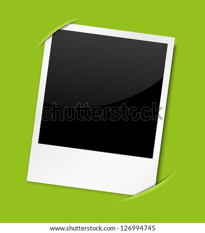 Vector photo card on green background - stock vector