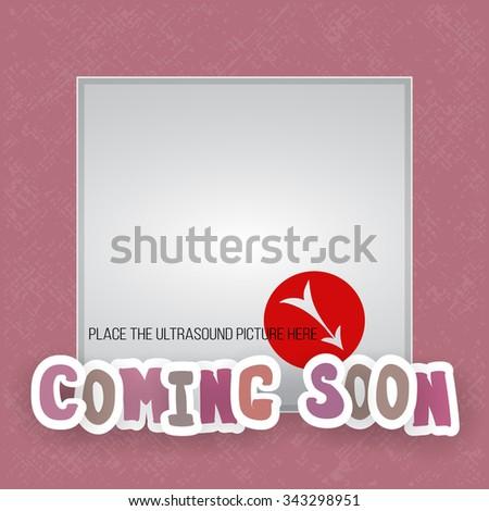 Vector Photo Frame Pink Shades Ultrasound Stock Vector 343298951