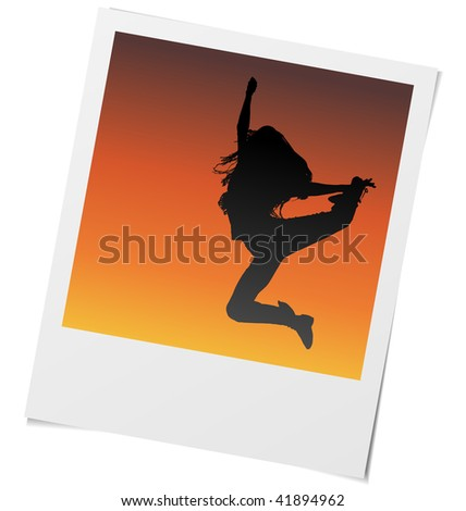 Vector photo frame of girl dancing and jumping in sunset light.