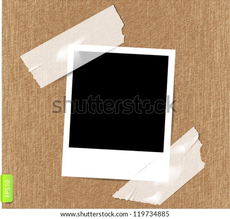 Vector photo frame on textile background. - stock vector