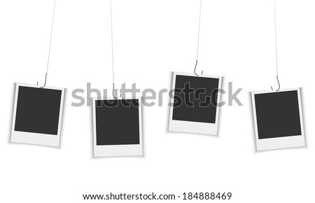 vector photo frames hanging on fishing hook - stock vector
