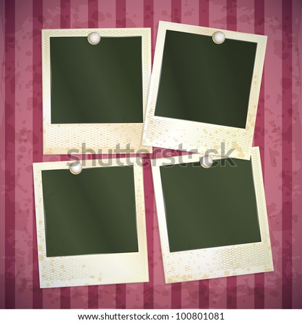 vector photo frames set on pink background - stock vector