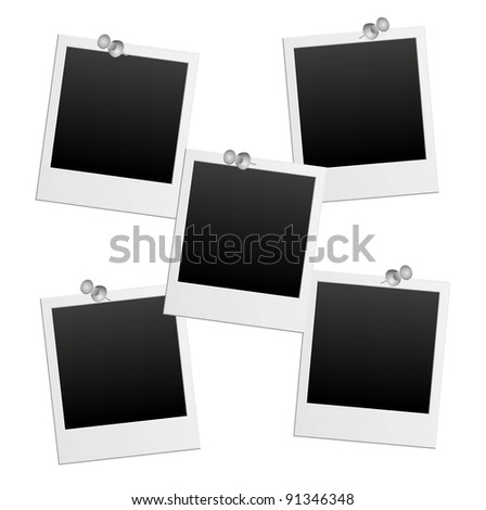 vector photo frames with pushpin - stock vector