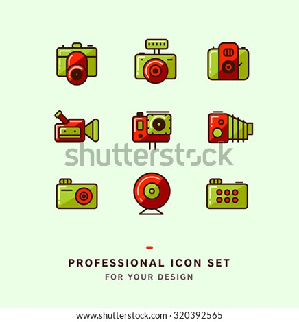 Vector photo icons set. Camera icons collection. - stock vector