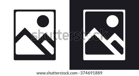 Vector photograph icon. Two-tone version on black and white background - stock vector
