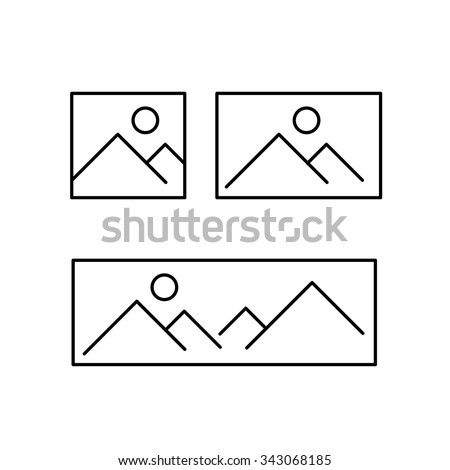 vector photography and picture canavas formats from square to panorama linear icon and infographic | illustrations of gear and equipment for photographers black isolated on white background - stock vector