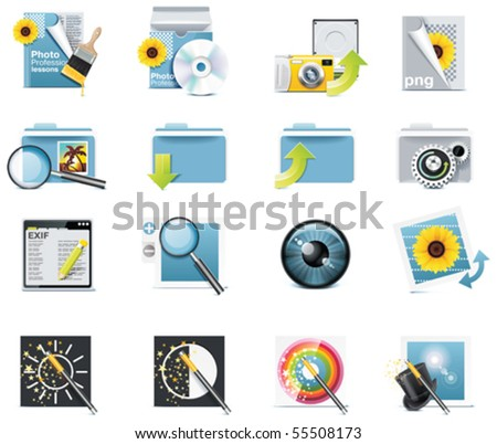 Vector photography icons. Part 7 - stock vector