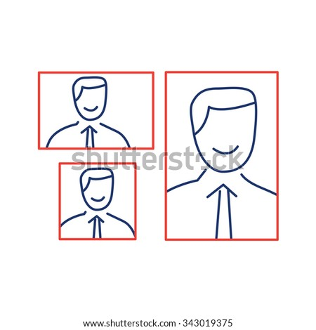 vector photography portrait canvas cropping formats linear icon and infographic | illustrations of gear and equipment for photographers blue and red isolated on white background - stock vector