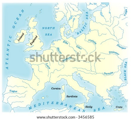 vector physical map of Europe