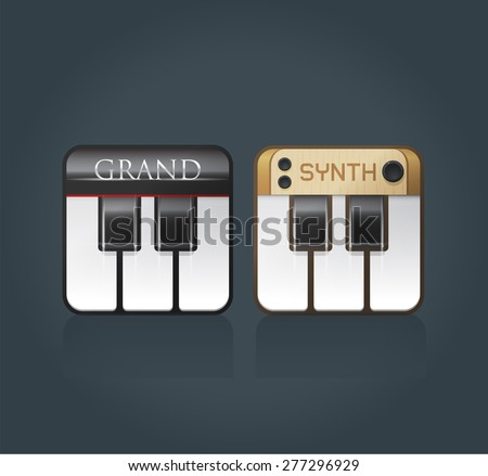 Vector piano icons for music software, grand piano and synthesizer, eps10  - stock vector