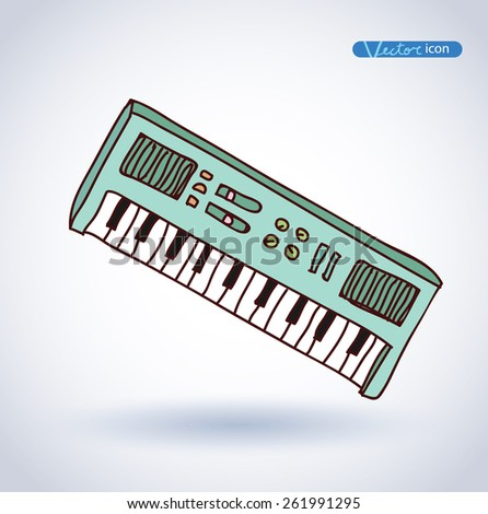 Vector Piano Keyboard Icon, hand drawn illustration. - stock vector