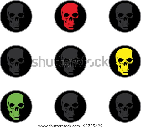 Vector pic traffic lights with scull - stock vector