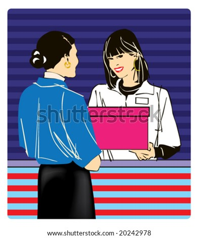 Vector pic: two female in the shop