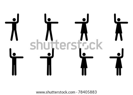 Vector Pictogram of Men and Women Pointing Up, Left and Right - stock vector