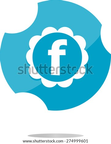 vector pictograph of award and letter f, vector white letter F facebook in the web button. Flat design - stock vector