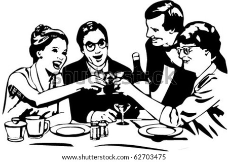 Vector picture dining with wine in restaurant - stock vector