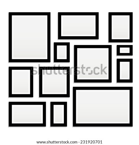 Vector picture frame for photo art gallery. - stock vector