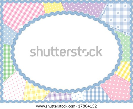 vector - Picture Frame, horizontal, pastel gingham, check, polka dot quilted patchwork, blue rickrack border, copy space for baby books, albums, scrapbooks. EPS8 organized in groups for easy editing. - stock vector