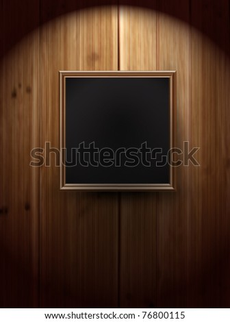 vector picture frame on wall - stock vector