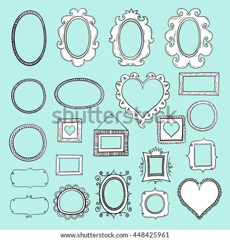 Vector Picture Frame Photoframes Doodle Vector Stock Vector