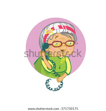vector picture icon old woman in glasses with a telephone receiver in hand talking to someone - stock vector