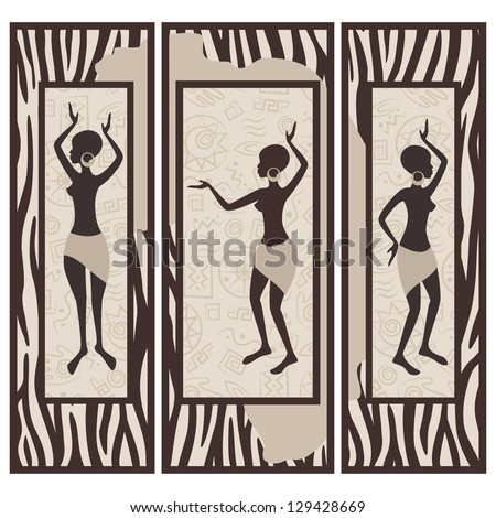 Vector picture of african american dancing woman on zebra skin background. Triptych. - stock vector