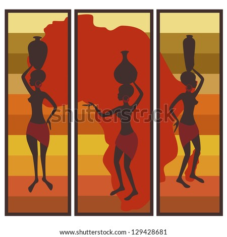 Vector picture of african american woman on colorful striped background. Triptych. - stock vector