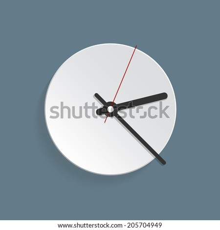 Vector picture of analog clock, watch.Conception of punctuality or deadline. The importance of precise time-keeping and measurement of time. Timepiece with arrows pointing on hour, minutes and seconds - stock vector