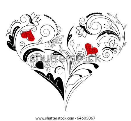 Vector picture of black heart with floral ornament - stock vector