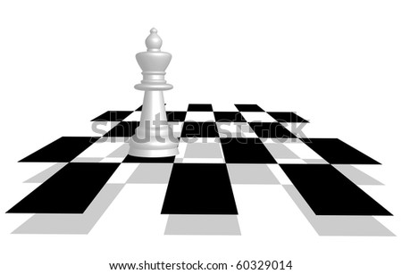 Vector picture of chess. Queen on the battlefield in perspective. - stock vector