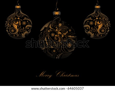 Vector picture of 3 gold silhouettes of christmas balls on black background