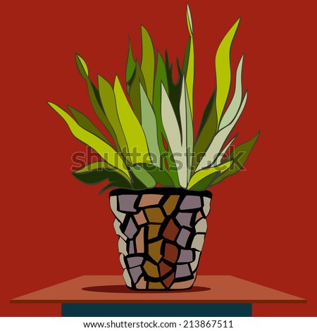 Vector picture of hand drawn buch in the flower-pot - stock vector
