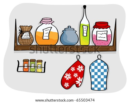 Vector picture of kitchen shelf with bottles and jam jars - stock vector