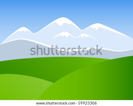 Vector picture of landscape with mountains, blue sky and green meadow - stock vector