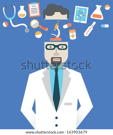 Vector picture of male doctor with medicine symbols - vector illustration - stock vector