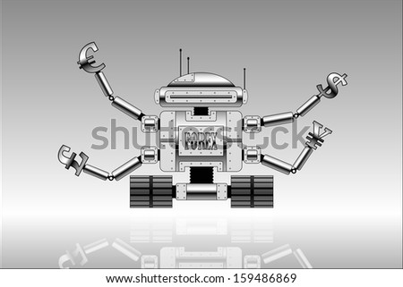 Vector picture of robot with currencies signs at the end of hands. Forex theme. - stock vector