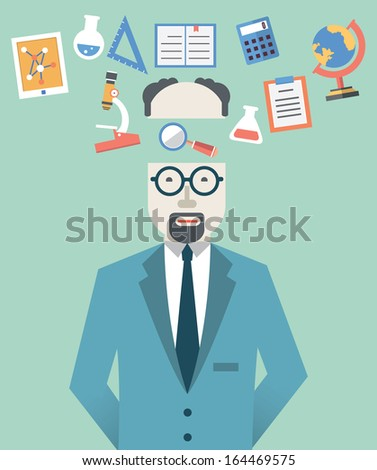 Vector picture of scientist with science symbols. Flat style design  - vector illustration - stock vector