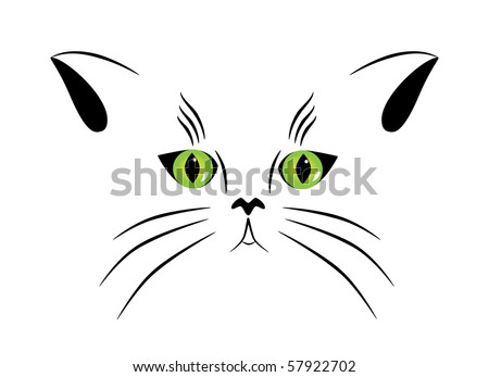 Vector picture of silhouette of a cat with green eyes