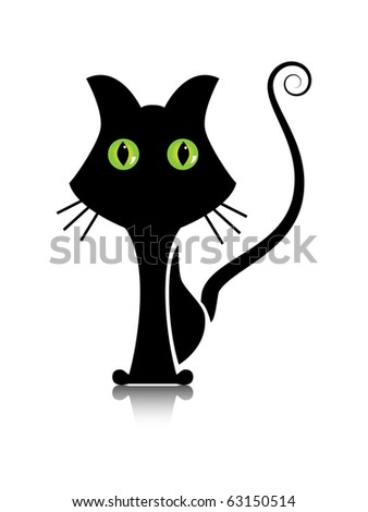 Vector picture of silhouette of black  cat with green eyes - stock vector